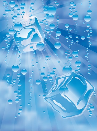 cubos de hielo: ilustraci�n vectorial con cubos de hielo en el agua Vectores