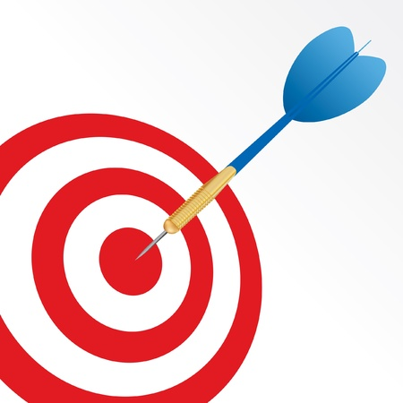 success symbol with blue arrow in center of red target Vector