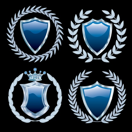 laurels: vector set of the blue shields with silver  Illustration