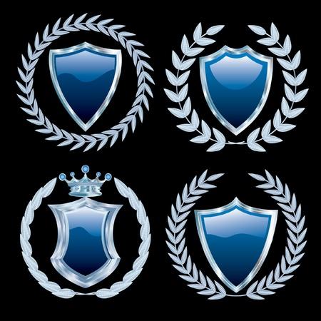 conjunto de vectores de los escudos azules con plata