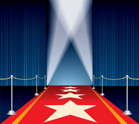 red rug: vector opened stage with blue curtain and stars on red carpet