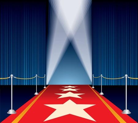 broadway show: Vector palco aperto con tenda blu e stelle sul tappeto rosso