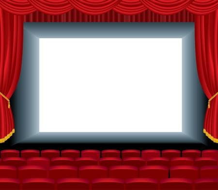 rideau sc�ne: illustration vectorielle du cin�ma vide avec couche de fond libre pour votre image