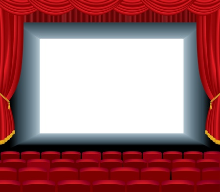 movie screen: vector illustration of the empty cinema with free bottom layer for your image