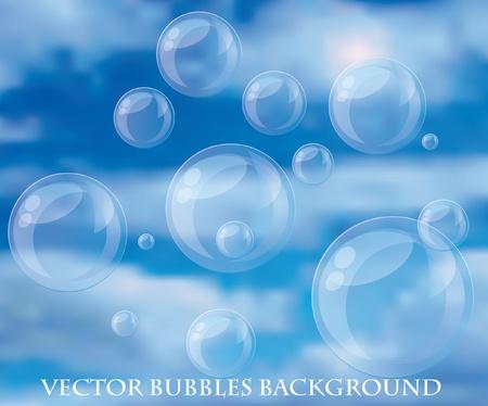 sotto la pioggia: Vector bolle sfondo con cielo nuvoloso