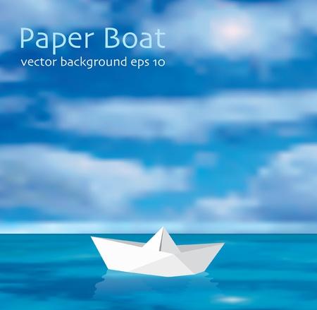 ilustración vectorial del barco de papel en el Océano Ilustración de vector