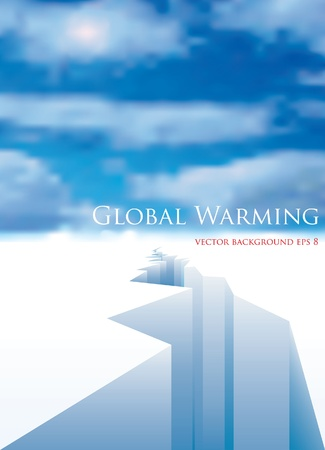 intocado: vector layout for global warming with melting ice