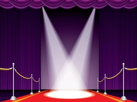sipario chiuso: illustrazione vettoriale del tappeto rosso sul palco viola