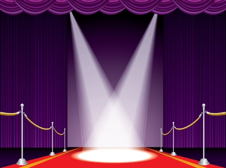 velvet: vector illustration of the red carpet on purple stage