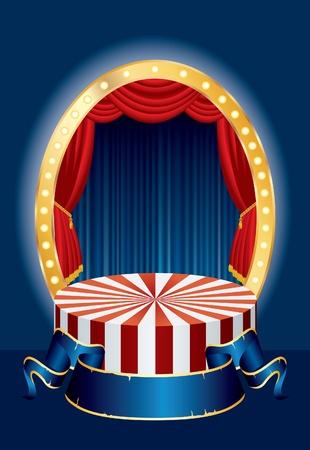 telon de teatro: ilustración vectorial de la fase pequeño circo