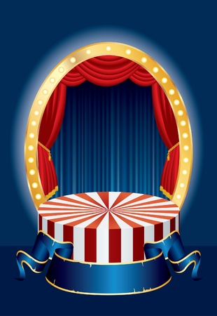 vector illustration of the small circus stage