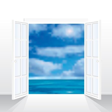 puertas de cristal: ilustraci�n vectorial de la sala vac�a con vista al mar Vectores