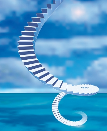 vector abstract stairs from the sea to heaven Illustration