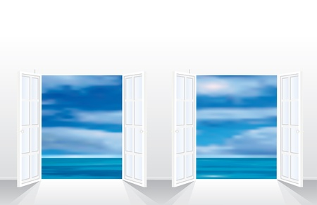 vector illustration of the empty room with two french windows Stock Vector - 9478854