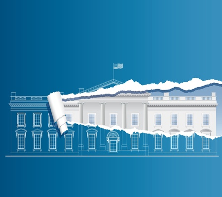 first house: vector facade of the White house on torn blueprint Illustration