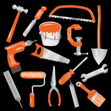 vector hand drawn tools in gray and orange color Stock Vector - 9525215