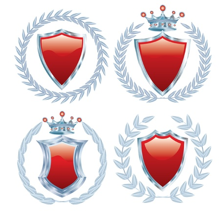 vector set of the red shields with silver Vector