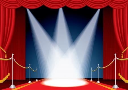 curtain theater: Vector abri� la etapa con cortina rojo y tres focos