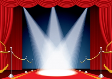theatrical: vector opened stage with red curtain and three spotlights Illustration