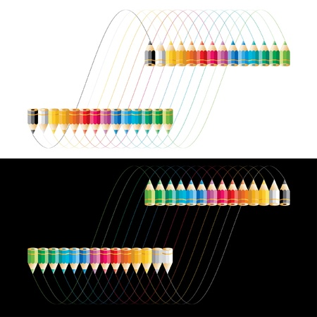 waved: vector colorful pencils with waved lines Illustration