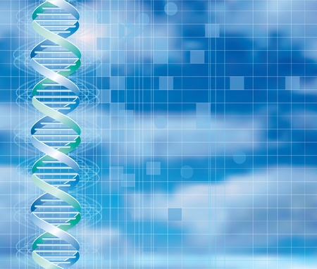 genetic: vector background with abstract DNA graph over cloudy sky Illustration
