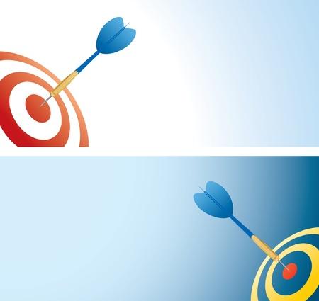 sparare: illustrazione vettoriale con freccia blu freccette in centro  Vettoriali