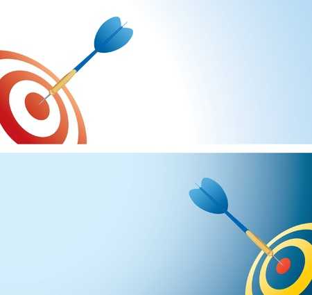 point and shoot: vector illustration with blue darts arrow in center  Illustration