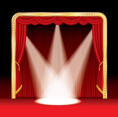 blockbuster: vector stage with red curtain and three spots Illustration