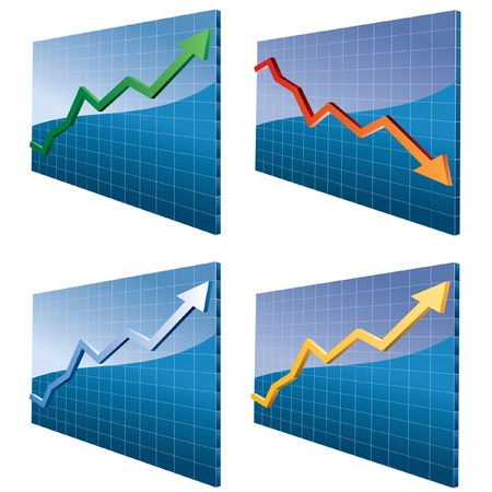 bust up: vector set of the four 3d abstract graphs