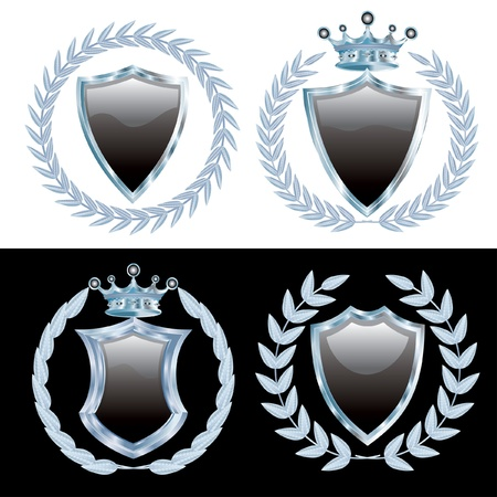 royal blue: vector set of the black shields with silver laurel