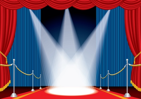 vector opened stage with red carpet and three spotlights Stock Vector - 9564879
