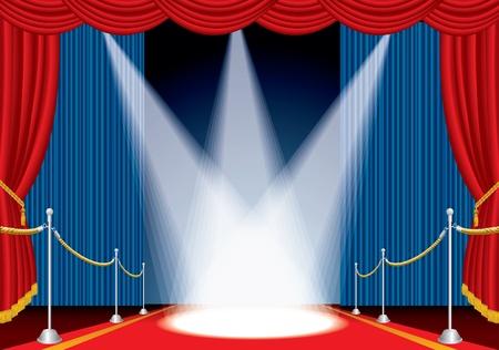broadway show: vettore ha aperto il palco con tappeto rosso e tre faretti Vettoriali