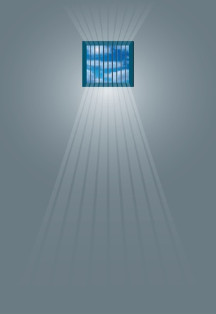 jail cell: vector illustration of the sun rays beaming through the jail window into the cell