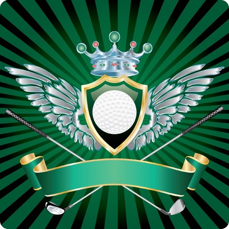 vector golf award with ball on shield and silver wings Vector
