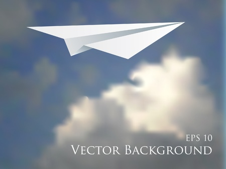 view from the plane: vector illustration of the paper plane over the cloudy sky