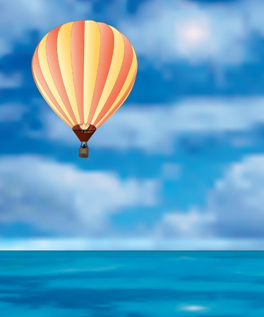 high sea: vector hot air balloon in the sky over the sea