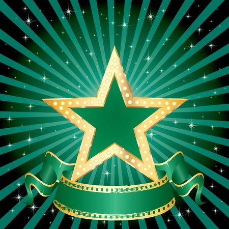 vector green star on the green starry night Stock Vector - 9621619