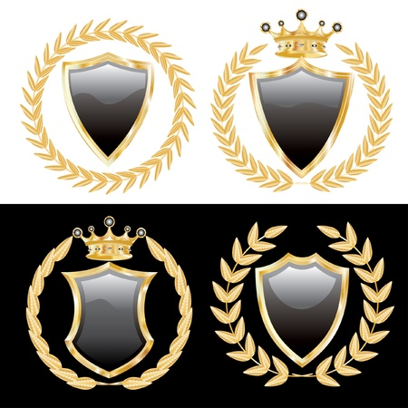 гребень: векторный набор из черных щитов с золотыми лавровыми Иллюстрация