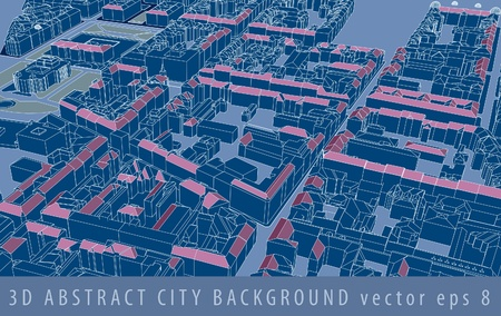 vector 3D drawing of the old european town space Vector