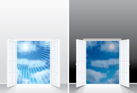 cloudy day: vector background with cloudy sky in day and night