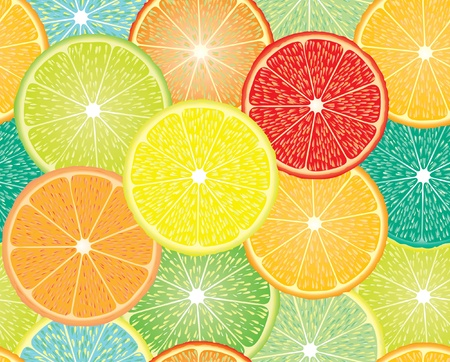 vector seamless repeating design with abstract citrus fruits Vector