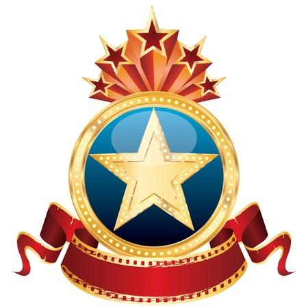movie sign: estrella de oro de vectores en el medall�n azul y banner de cine en blanco