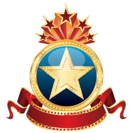 theatre symbol: vector golden star on the blue medallion and blank cinema banner
