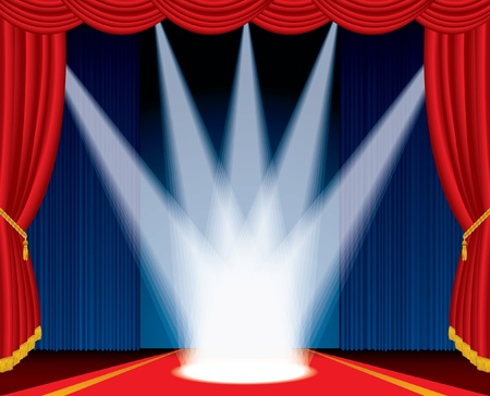 red rug: vector illustration of the stage with spotlights like crown