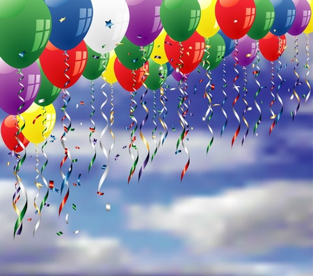 confetti background: vector party background with confetti and balloons on sky Illustration