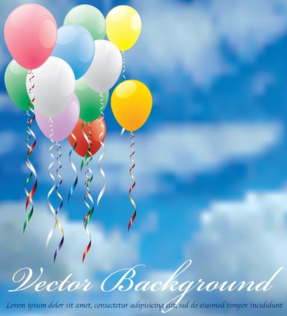 flying balloon: vector background for holidays or birthday Illustration