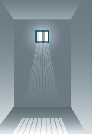 vector illustration of the empty jail and sun rays  Vector