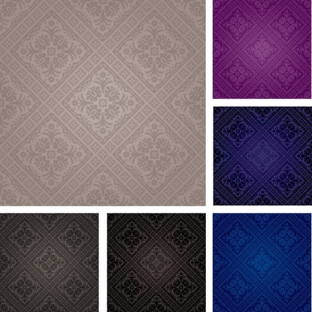blue damask: set of vector seamless repeating wallpapers Illustration