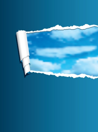 vector background with torn blue paper over cloudy sky Stock Vector - 9776561