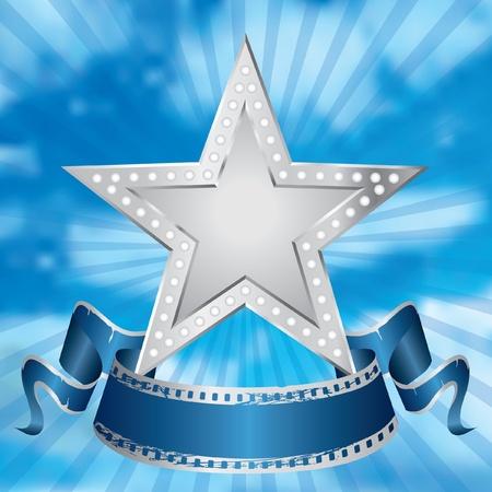 Vector metal plata estrella de cine en el cielo nublado